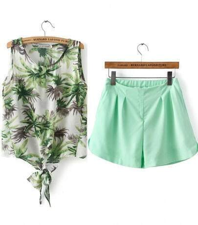 White Sleeveless Coconut Trees Print Top With Green Shorts
