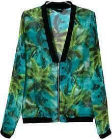 Green V Neck Long Sleeve Leaves Print Jacket