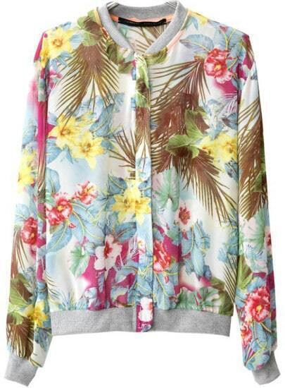 Grey Long Sleeve Floral Zipper Jacket
