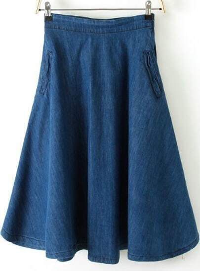 Blue Zipper A Line Denim Skirt