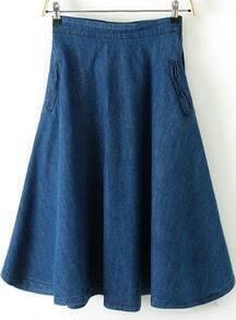 Blue Zipper A Line Denim Skirt