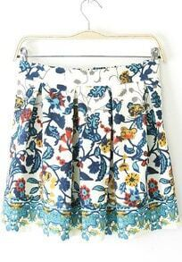 White Vintage Floral Pleated Skirt