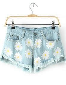 Blue Pockets Daisy Print Fringe Denim Shorts