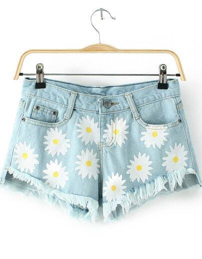 Blue Pockets Daisy Print Fringe Denim Shorts