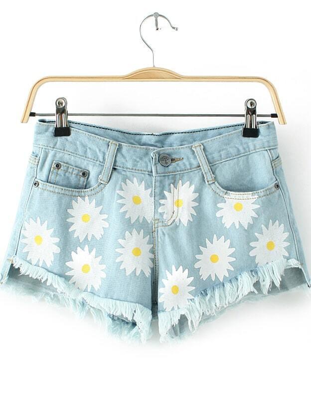 Blue Pockets Daisy Print Fringe Denim Shorts -SheIn(Sheinside)
