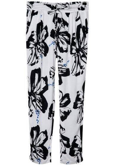 White Pockets Drawstring Waist Floral Pant