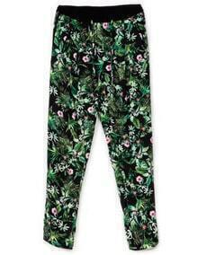 Green Elastic Waist Leaves Print Pant