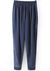Navy Elastic Waist Split Sheer Chiffon Pant