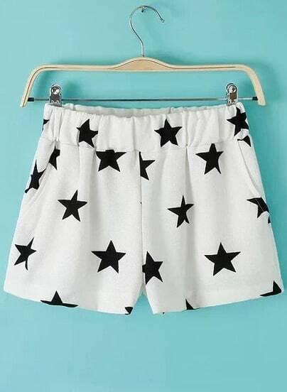 White Elastic Waist Stars Print Chiffon Shorts