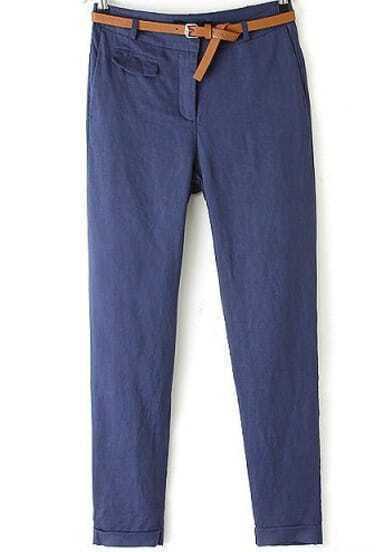 Navy Mid Waist Pockets Pencil Pant