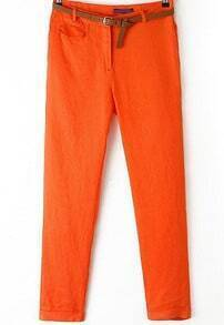 Orange Mid Waist Pockets Pencil Pant