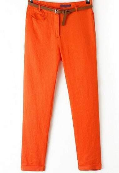 Orange Mid Waist Pockets Pencil Pant