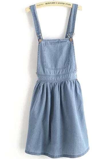 Blue Strap Pocket Backless Denim Dress