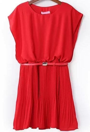 Red Round Neck Sleeveless Pleated Chiffon Dress