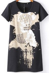 Black Short Sleeve Bead Skull Print T-Shirt