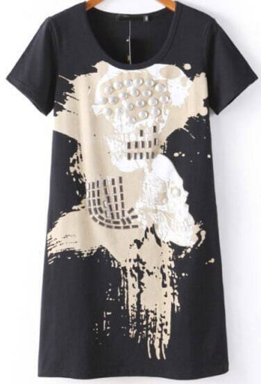 Black Short Sleeve Bead Skull Print T-Shirt
