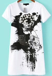 White Short Sleeve Bead Skull Print T-Shirt