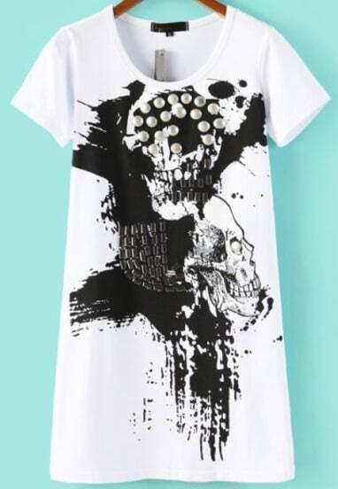 White Short Sleeve Bead Skull Print T-Shirt