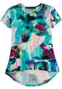 Green Short Sleeve Floral Dipped Hem T-Shirt