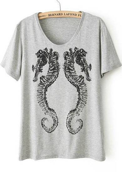 Grey Short Sleeve Hippocampal Print Loose T-Shirt