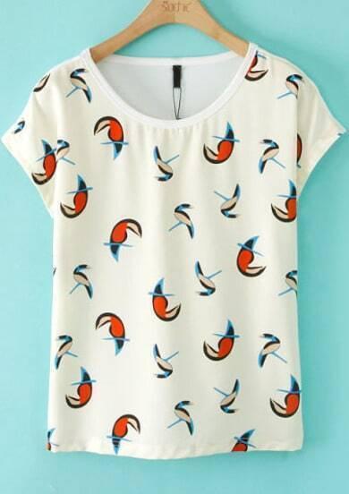White Short Sleeve Parrot Print Slim T-Shirt