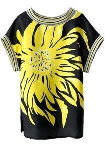 Black Short Sleeve Floral Split T-Shirt