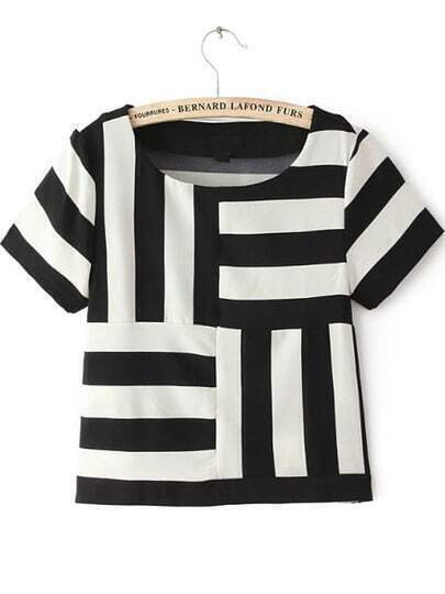Black White Striped Short Sleeve Chiffon T-Shirt