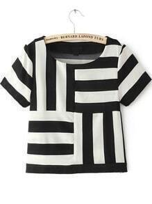 Black White Striped Short Sleeve Chiffon T-Shirt