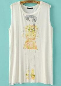 White Sleeveless Split Beauty Print T-Shirt