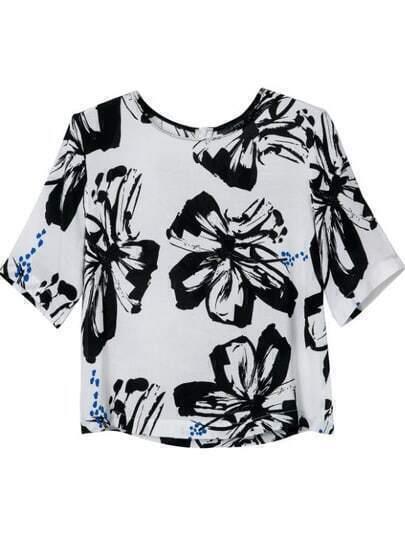 Blusa floral cremallera manga corta-blanco