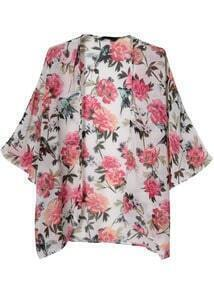 Pink Long Sleeve Vintage Floral Loose Outerwear