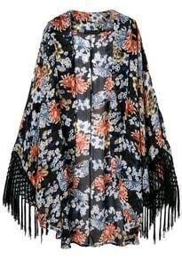 Black Florals Print Tassel Hem Kimonos