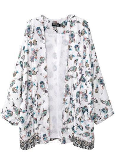 White Long Sleeve Vintage Tribal Print Kimono