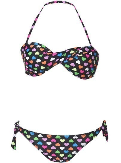 Black Halter Hearts Print Strapless Bandeau Bikini