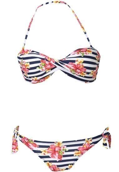 Navy White Halter Striped Floral Strapless Bandeau Bikini