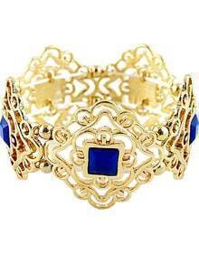 Blue Gemstone Gold Hollow Bracelet