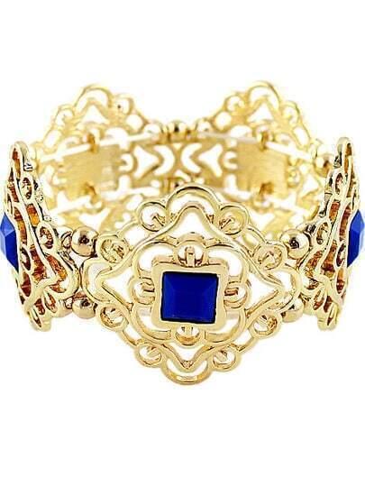 Blue Gemstone Gold Hollow Bracelet
