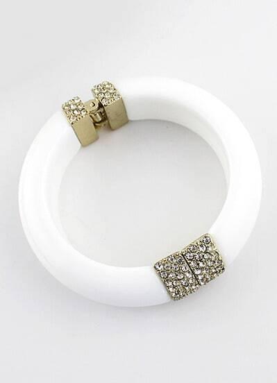 Bracelet orné de diamant -blanc