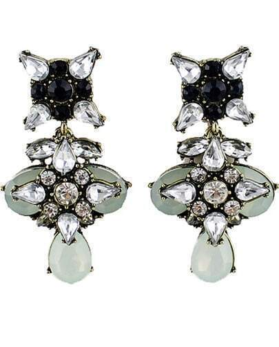 Black White Gemstone Retro Gold Earrings