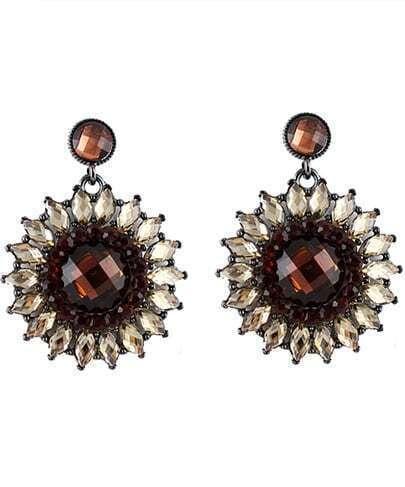 Brown Gemstone Silver Flower Earrings