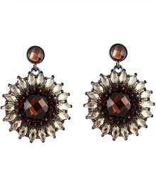 Brown Gemstone Silver Flower Earrings