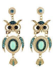 Green Diamond Gold Owl Earrings