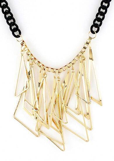 Gold Triangle Tassel Black Chain Neckalce