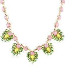 Green Pink Gemstone Chain Necklace