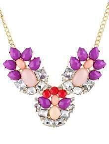Purple White Gemstone Gold Chain Necklace