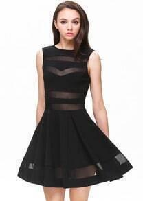 Black Sleeveless Contrast Gauze Bandage Skater Dress