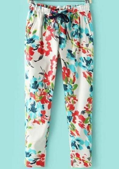 White Elastic Waist Pockets Loose Pant