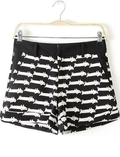Black Cats Print Straight Shorts