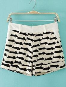 White Cats Print Straight Shorts