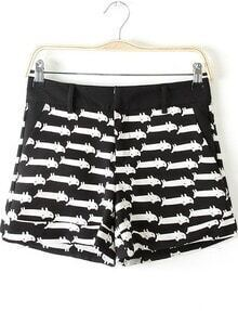 Black Cats Print Straight Shorts